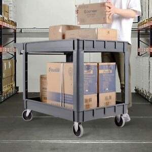 Durable Plastic Utility Service Cart 2 Shelves Rolling Trolley Wheels Tool