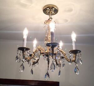 Antique Vintage Crystal And Brass 5 Arm Spanish French Chandelier