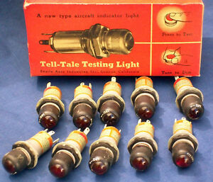 10 Nos Vintage 1 2 In Diameter Glass Red Indicator Panel Light Searle 44a18454