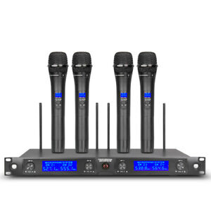 Wireless Microphone System Pro Audio UHF 4 Channel 4 Handheld Metal Dynamic Mic $129.00