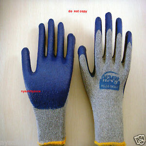 50 Pairs Premium Blue Latex Rubber Coated Palm Work Gloves