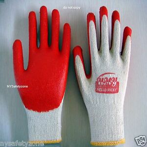 48 Pairs Premium Red Latex Rubber Coat Palm Coated Work Gloves Hello Micky Brand