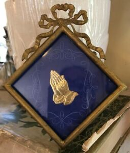 Antique Vintage French Brass Metal Small Picture Frame Ribbon Square