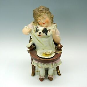 Big Antique German Bisque Girl With Puppy In Chair Piano Baby Figurine