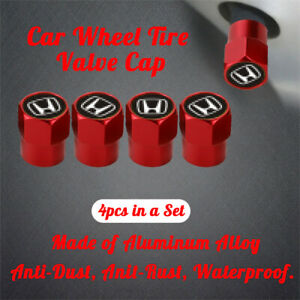 4 Pcs Wheel Tire Valves Dust Stems Air Cap Antidust Antirust Red Fit For Honda