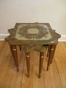 Vtg 1970 S Retro Nesting Stacking Formica Top Side Tables Brady Bunch Era