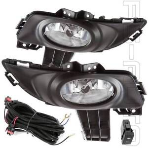For 2004 2006 Mazda 3 Sedan Clear Lens Fog Lights With Bezel Switch Wires Bulbs