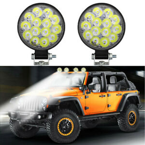 2pcs 42w Round Spot Work Light Bar Fog Driving Lamp Truck Tractor Suv 14 Led