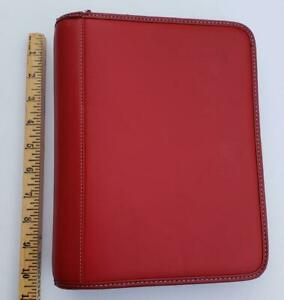 Red Faux Leather By Franklin Covey Organizer Zipper Binder Planner