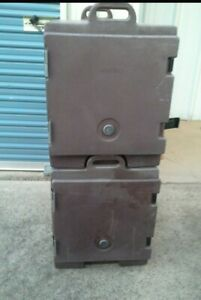 2 Cambro 300mpc Brown 3 pan 1 door 2 handle Insulated Hot Or Cold Food Carriers
