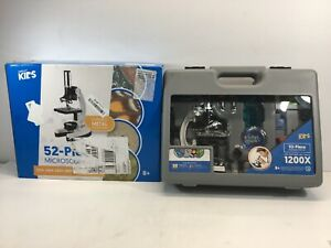 Microscope Science Kit For Kids Set Lab Biological W Metal Arm Case 51 Piece