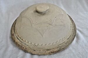Antique Very Rare Large 12 1 2 Crock Lid Brown Glazed Inside With Button Handle
