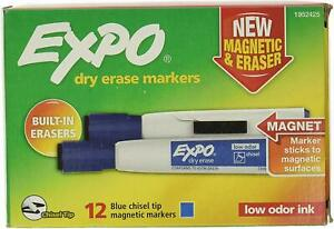 12 Expo Low Odor Dry Erase Chisel Markers Magnetic Blue With Eraser New In Box