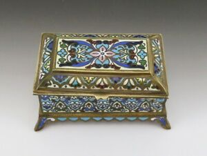 C1880s French Victorian Colorful Champleve Enamel Jewelry Trinket Dresser Box