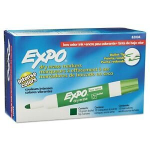 Expo Low Odor Dry Erase Markers Bullet Tip Green New In Box 82004 12 Markers