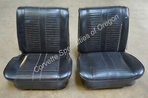 Original 1964 1965 Chevelle Black Bucket Seats 442 Gs Gto Ss Super Sport 64 65