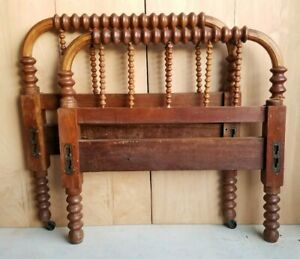 Antique Jenny Lind Wooden Hand Turned Spindle Bed Late 1800s Head