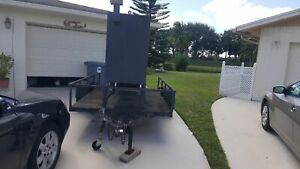 Used 2003 Custom built Wood Burning Smoker Barbecue Trailer In Good Condition Fo