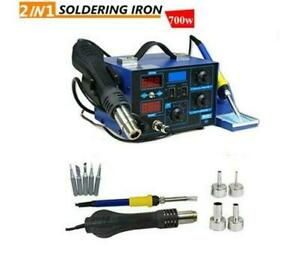 2in1 862d Smd Soldering Iron Hot Air Gun Rework Station Digital Display 110v