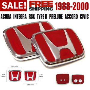 Red Honda Emblem Jdm Style Type R Civic Acura Integra Rsx Accord Badge Logo Set