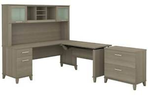 L Shaped Desk With Hutch And File Cabinet Set In Ash Gray id 3906393