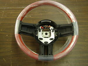 Nos Oem 2010 2014 Ford Mustang Steering Wheel Red Leather 2011 2012 2013