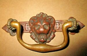 Antique Victorian Stamped Brass Lion Head Drop Handle Drawer Pull 3 3 4 Long