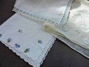 Lot Of 3 Vintage Madeira Hankies With Lace Trim Floral Embroidery