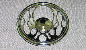 14 Chromed Billet Flamed Flames Wheel Flames Fire Gm Radical Cool Smooth Button
