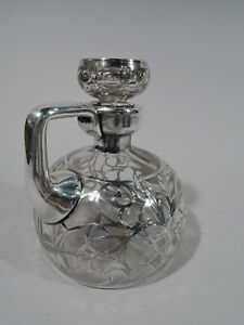 Antique Decanter Art Nouveau Jug Barware American Clear Glass Silver Overlay