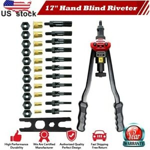 Rivet Gun Kit Rivnut Setting Tools Nut Setter Tool Hand Blind Riveter Gun 17