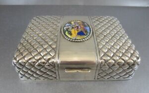 Great Indian Sterling Jewelry Or Cigar Box With Porcelain Plaque Circa 1900