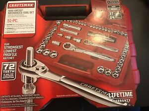 New Craftsman 51 Piece Max Axess Chrome Plated Alloy Steel Mechanics Tool 29309