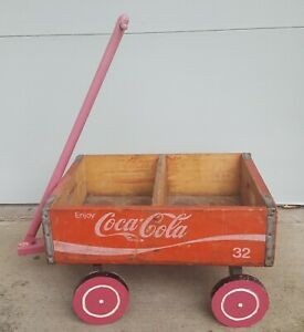 Wooden Wood Red Coca-Cola Coke Soda Pop Bottle Crate Box Wagon