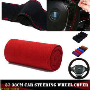 Red Auto 38cm Leather Diy Car Steering Wheel Cover Scrub W Neddle And Thread