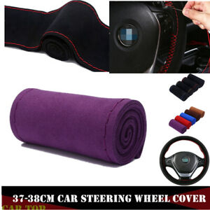 Purple Auto 38cm Leather Diy Car Steering Wheel Cover Scrub W Neddle And Thread