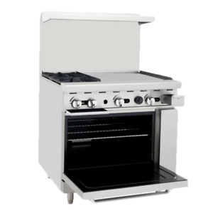 Atosa Range 36 in Gas Range 2 burner 24 Right Griddle Ato 2b24g