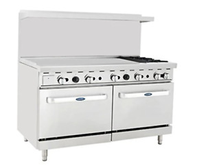 Atosa Range 60 in Gas Range 2 burner 48 Lt Griddle Ato 48g2b