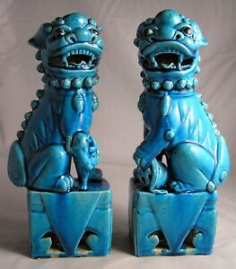 Vtg Blue Foo Dogs Chinese Ceramic Pottery Export Temple Guardian Lions 10 Tall