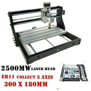 2in1 Cnc3018pro Router Kit Engraving Machine Grbl 2500mw Laser Head er11 Collet