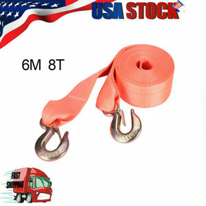 8 Tons Car Tow Cable Towing Strap Rope With Hooks Emergency Heavy Duty 20 Ft Hot