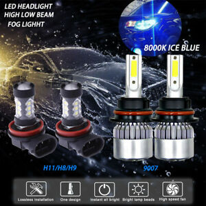 9007 h11 Combo Kit Cob Led Headlight High Low Bulbs fog Light 8000k Blue Light