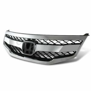 For 2011 2012 Honda Accord Sedan Chrome Abs Front Hood Honeycomb Grille Grill