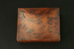 Small Thuya Wood Jewellery Box Vintage Hand Made For Desk Top Mantle Or Dresser