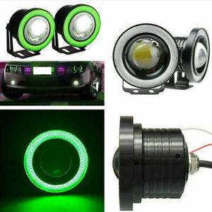 2x 2 5inch Round Green Angel Eye Halo Car Led Projector Fog Light Lamp Atv Truck