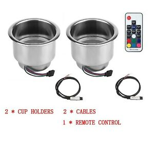 2pcs Stainless Steel 14led Rgb Cup Drink Holder Remote Control Marine Boat Car