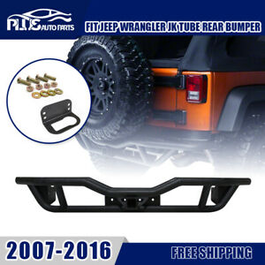 For 2007 2018 Jeep Wrangler Jk Rear Black Textured Bumper Rock Crawler Tubular