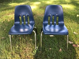 Lot Of 2 Vintage Virco Kids School Chairs 12 Seat Height Chrome navy Blue
