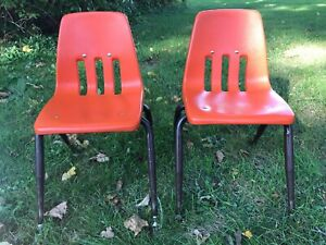 Lot Of 2 Vintage Virco School Chair 14 Seat Height Orange c