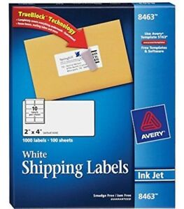 Avery 8463 White Shipping Labels 100 Sheets 1000 Labels Ink Jet Free Shipping Us